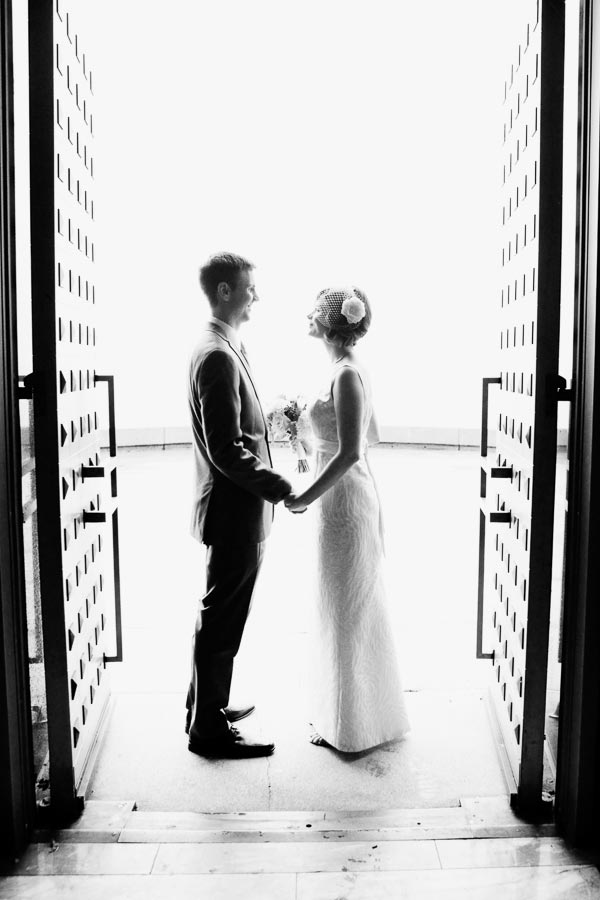Moira & Brent Romantic Black and White Bride Groom Portrait Doorway