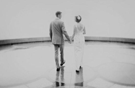 Romantic Black and White Dreamy Bride Groom Portrait