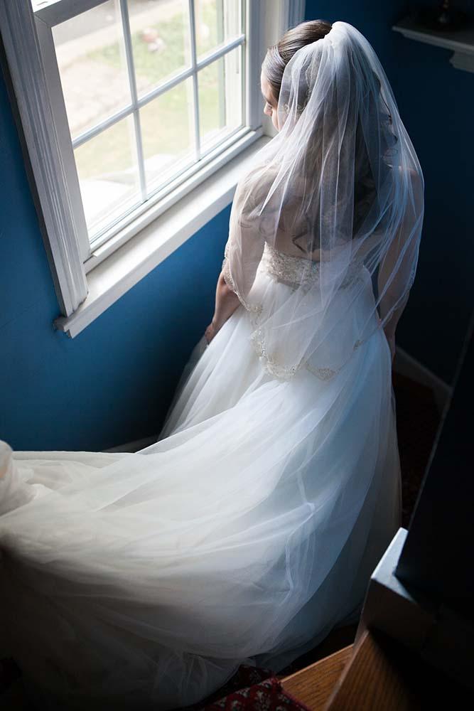 Bridal Portait Stairway Window