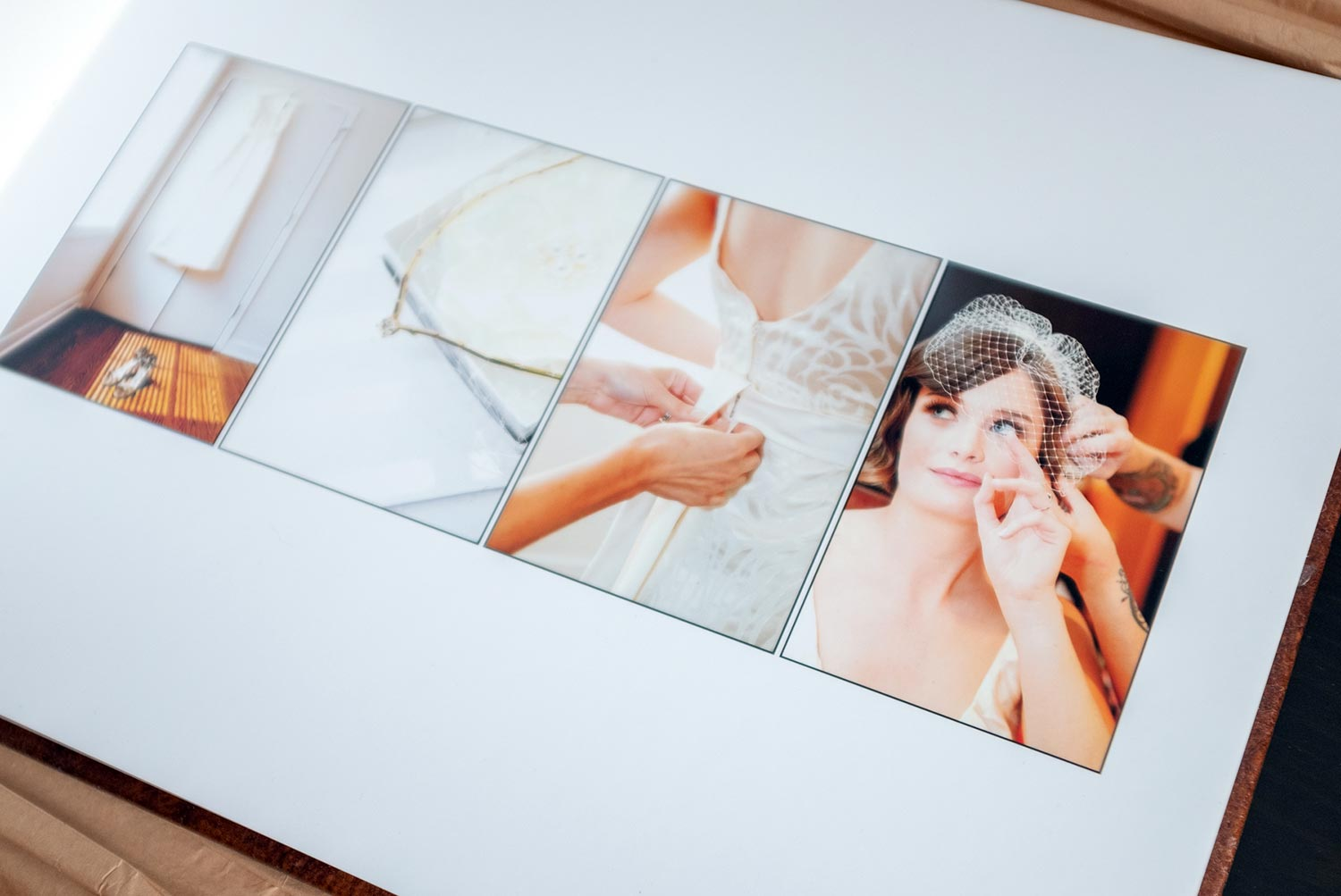 Personalized wedding photo album images are mounted on a high quality cardboard stock. Saint Paul Wedding Photographer
