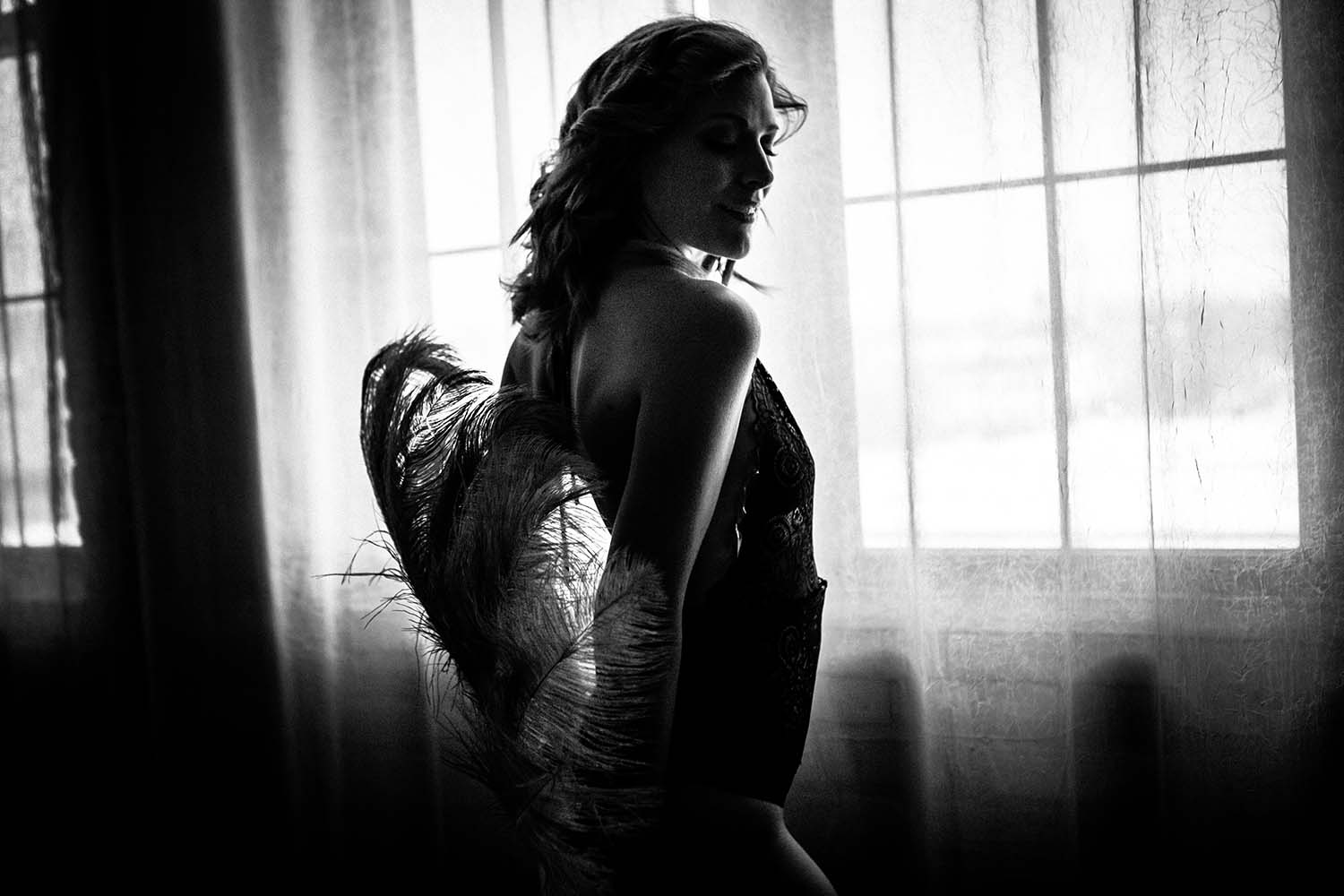 Natalie, Woman, Black and White, Moody, Burlesque Fan, natural, window, light, Twin Cities; MN; Woman; Boudoir Photographers Minneapolis; Saint Paul; Photography; sexy; adult; bedroom; photos; portraits; intimate; Midwest; classy; boudoire; grooms gift; anniversary; self love