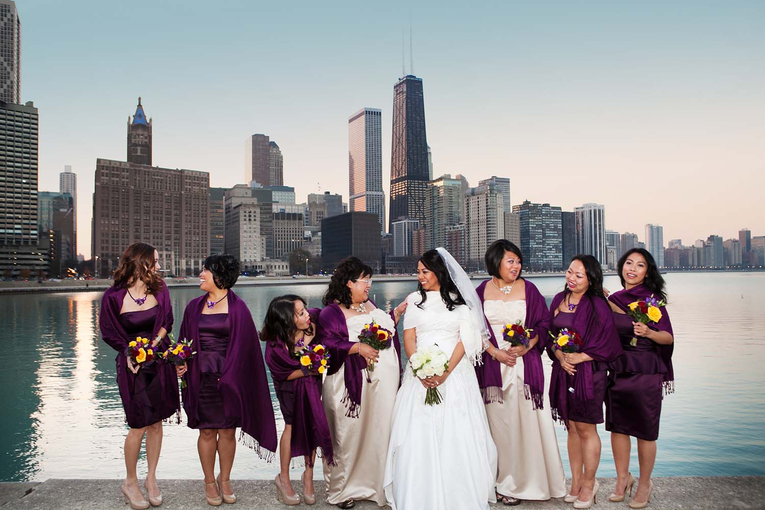 Bride, bridesmaids, photo, portrait, downtown, Chicago, skyline, Lake Michigan, Navy Pier Park, evening, beautiful, sunset, candid