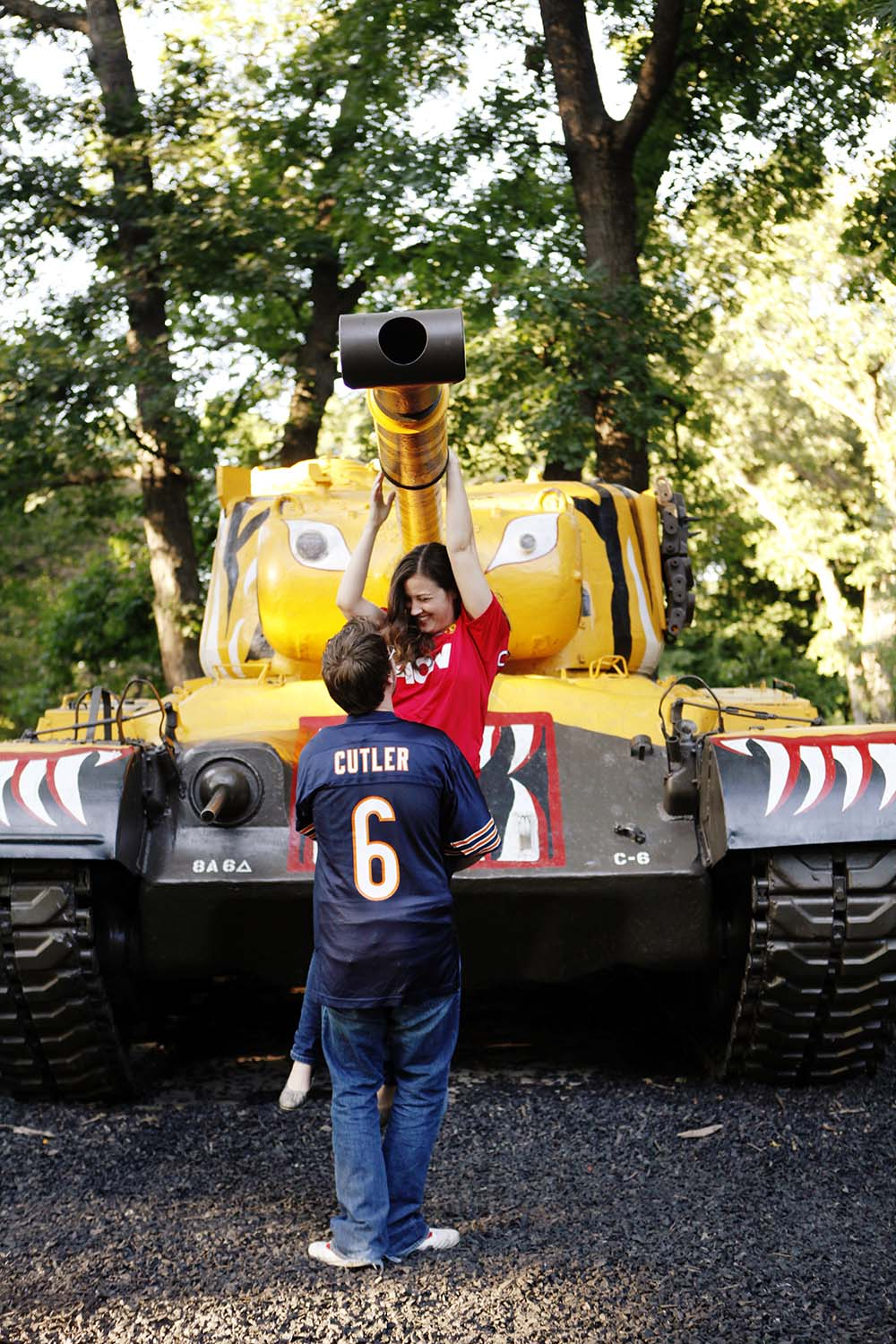 Cantigny Military tanks museum engagement photography, Illinois, engaged, summer, day, sunny, Katie & Mike, spring, fun, funny, silly, cute, photos