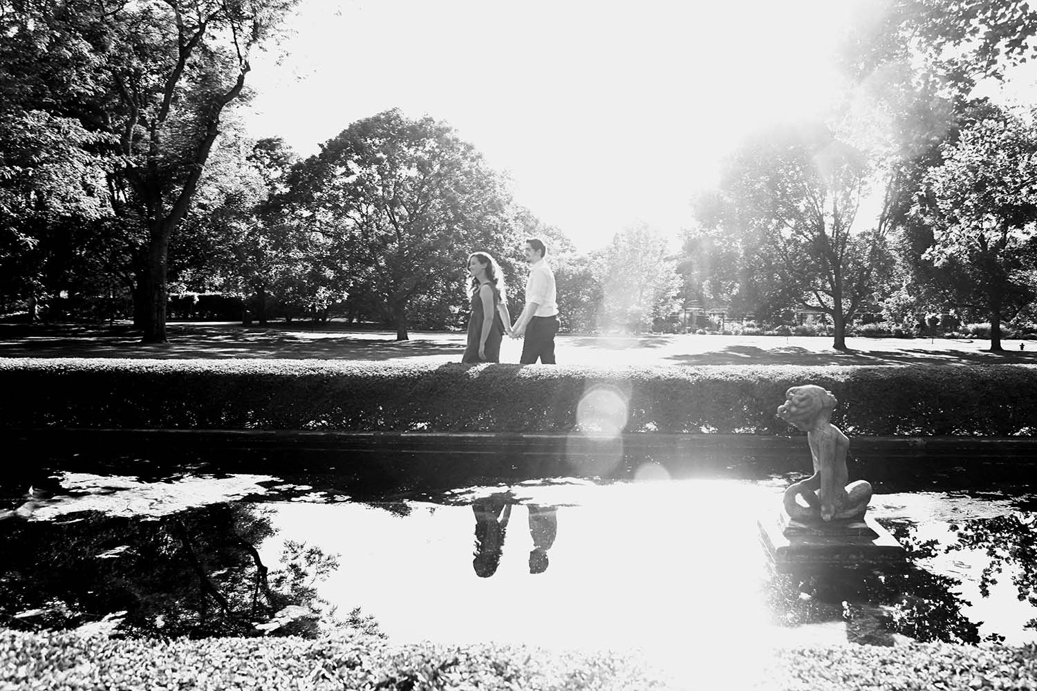 black and white, sun, flare, Engaged portraits, Cantigny, garden, nature, Twin Cities, photographers, photography, outdoors, summer, Minnesota, Illinois