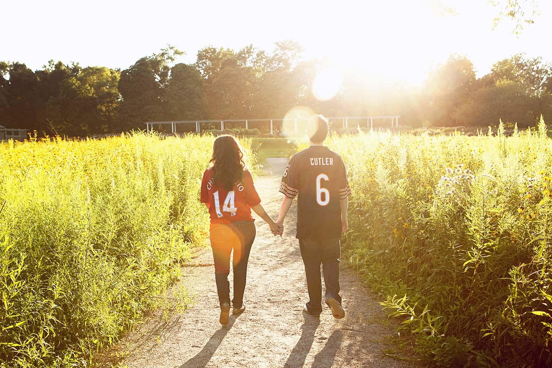 Engagement, couple walking, sunlight, sun, flare, Cantigny gardens, park, Illinois, wedding, photographer, Minneapolis, Minnesota, Twin Cities, photography