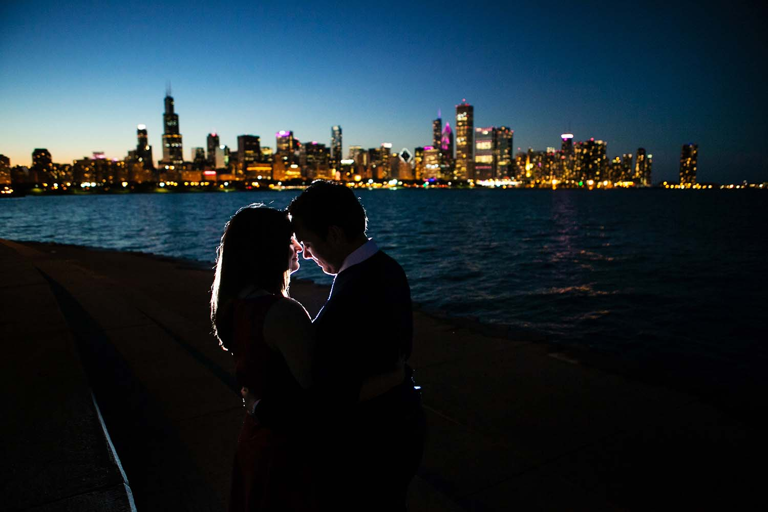 Chicago Engagement Session Night