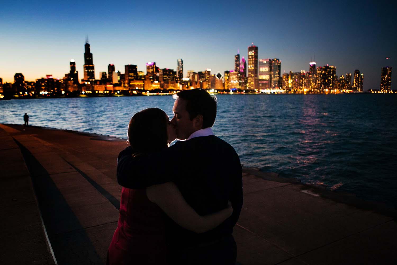 Chicago Skyline Night Couple Kissing Cara & Charley