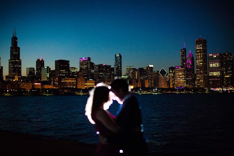 Chicago Skyline Night Engagement Photo Cara & Charley