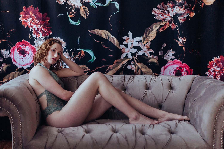 Sensual sophisticated portrait against floral wallpaper background. Boudoir photography, Twin cities Boudoir photographers