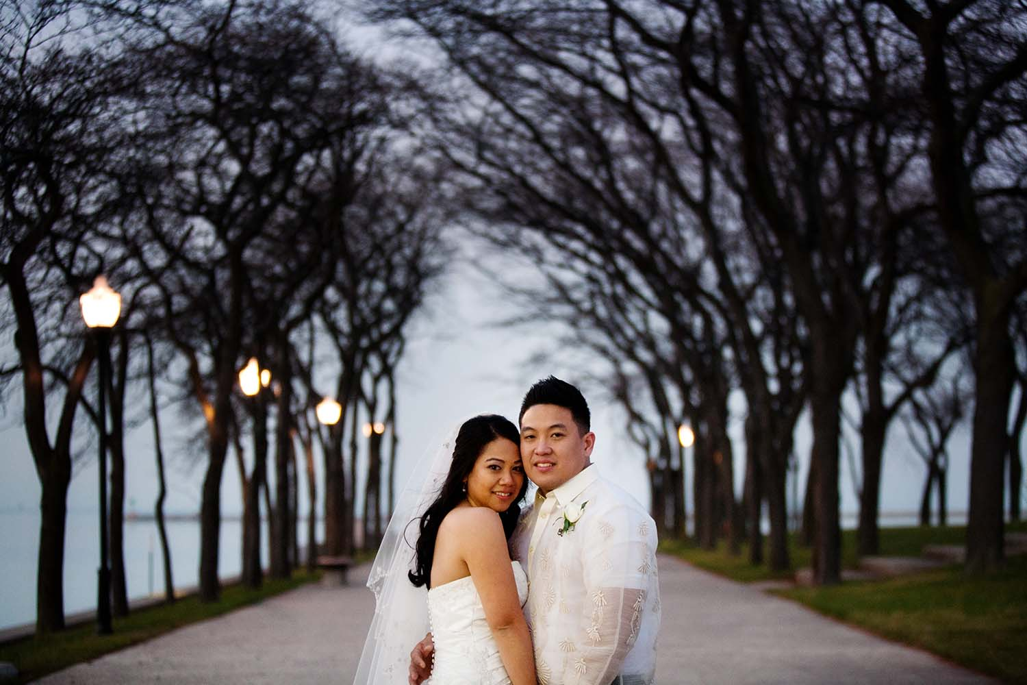Navy Pier Park Chicago skyline Wedding Evening tree portrait
