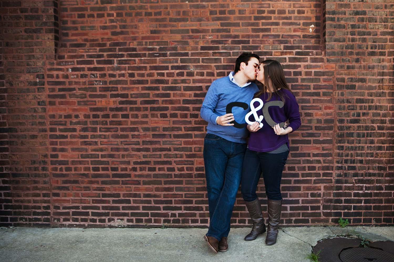 Destination engagement portraits, Chicago, Illinois west loop, Wedding Photographers Minneapolis, Minnesota, Photography, initials, kissing couple, cara charley