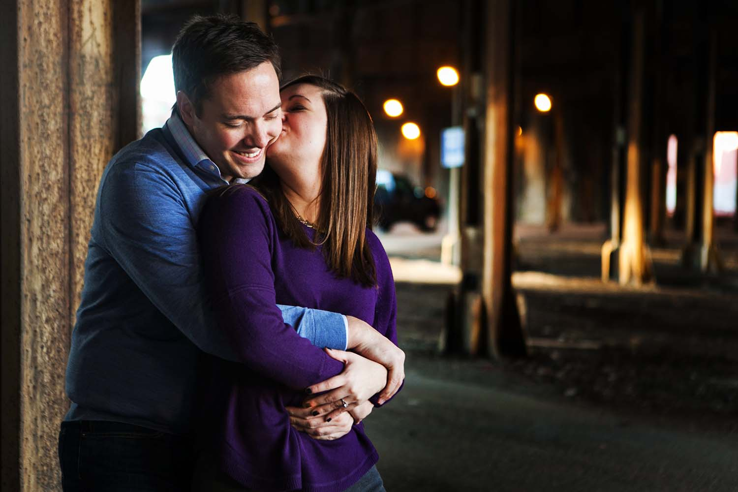 Couple kissing Urban Engagement Photography Twin Cities