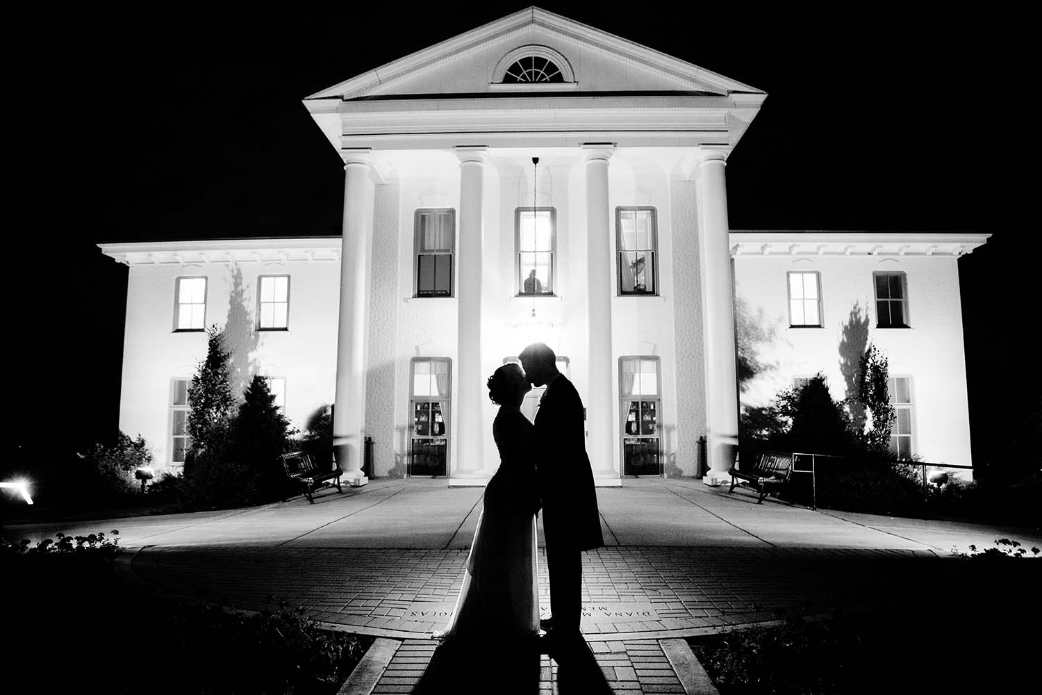 Katie Mike, Wilder Mansion Silhouetted Wedding Portrait Night