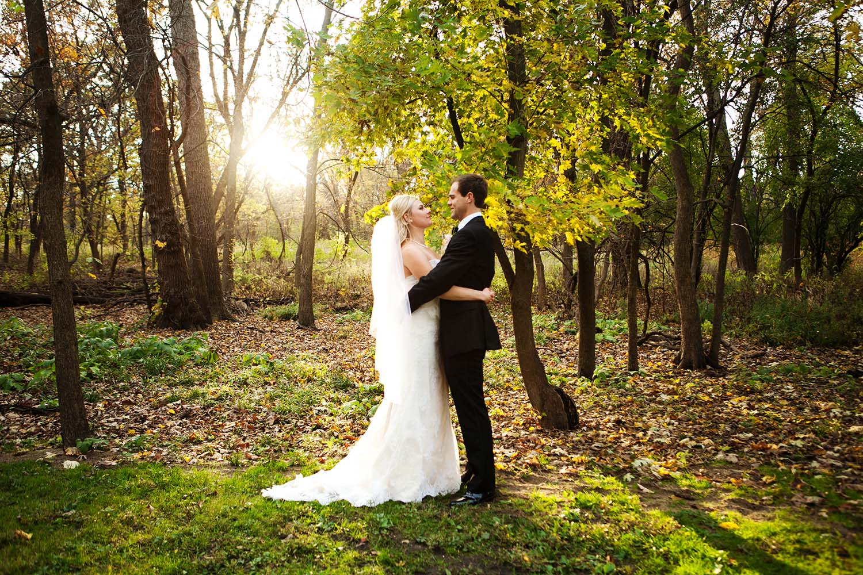 Bride and groom fall wedding portrait at sunset, Minneapolis Wedding Photographers
