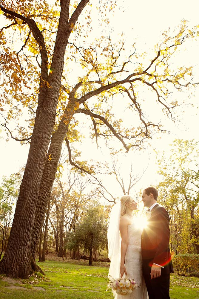 Bride Groom Portrait Autumn Fall Sun Flare, Minneapolis Wedding Photographers