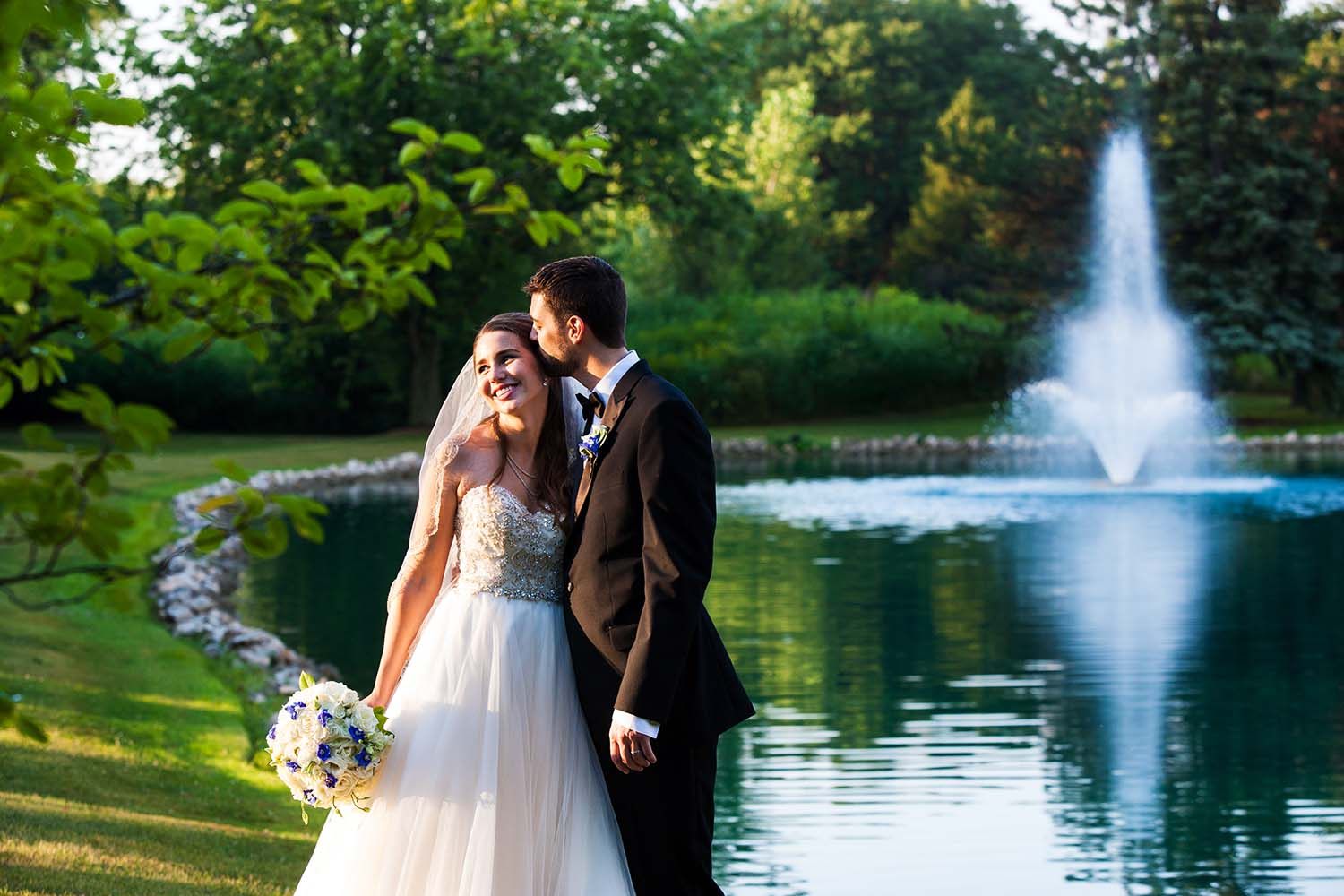 Bride Groom Country Club Pond Portrait