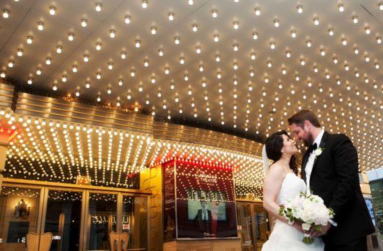 Bride Groom Portrait Chicago Theater Marquee Minneapolis Wedding Photographer