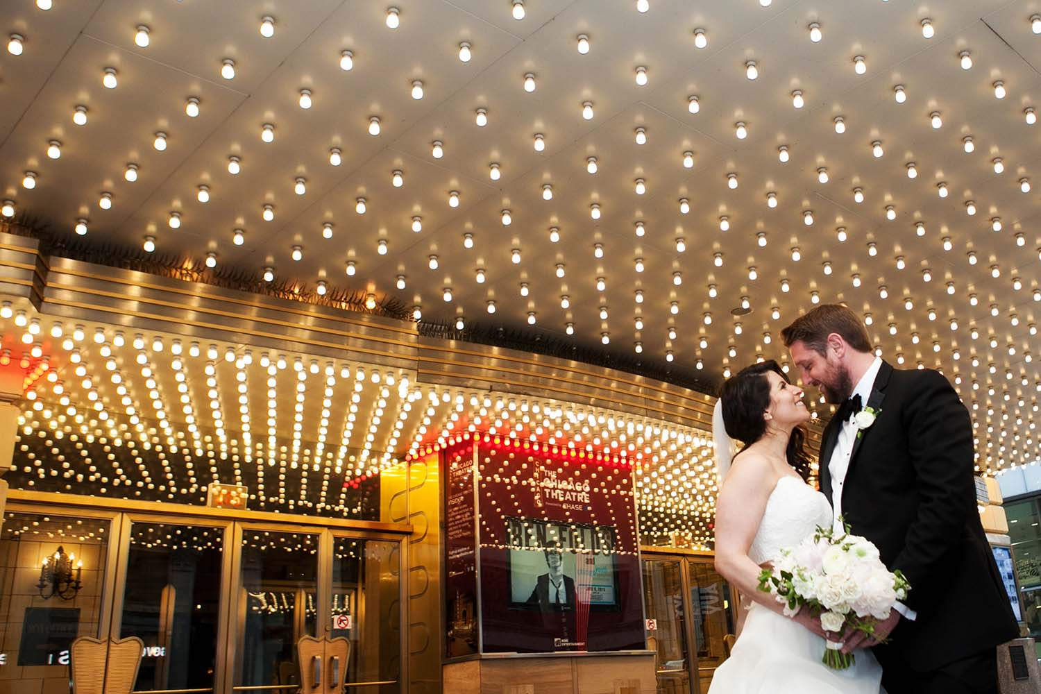 Bride Groom Portrait Chicago Theater Marquee Minneapolis Wedding Photographer