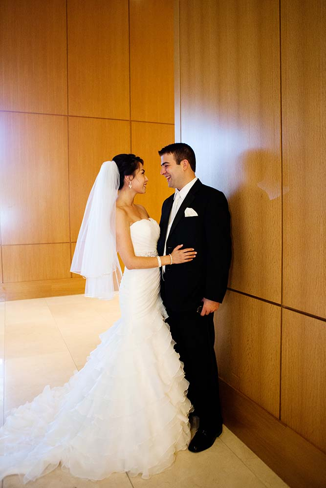 Cathy & Alan's Wedding Loews Hotel, first look wedding day photography candid