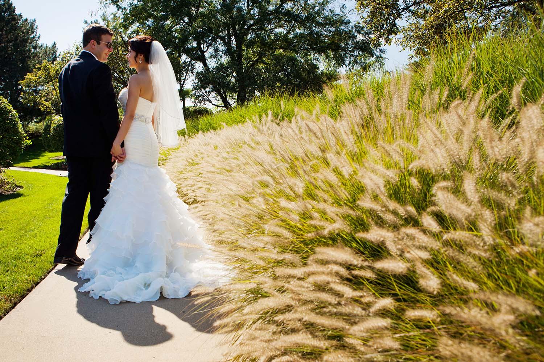 Bride and groom wedding portraits nature outdoors summer wedding photography, Rosemont Illinois