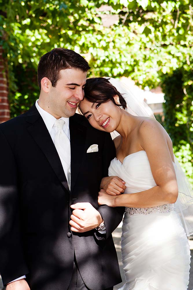 Asian bride with groom, outdoor summer portraits, Rosemont Illinois park
