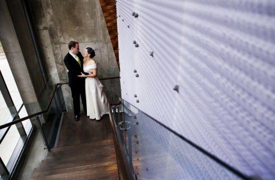 Dana Hotel Stairway Bride Groom Portrait Chicago