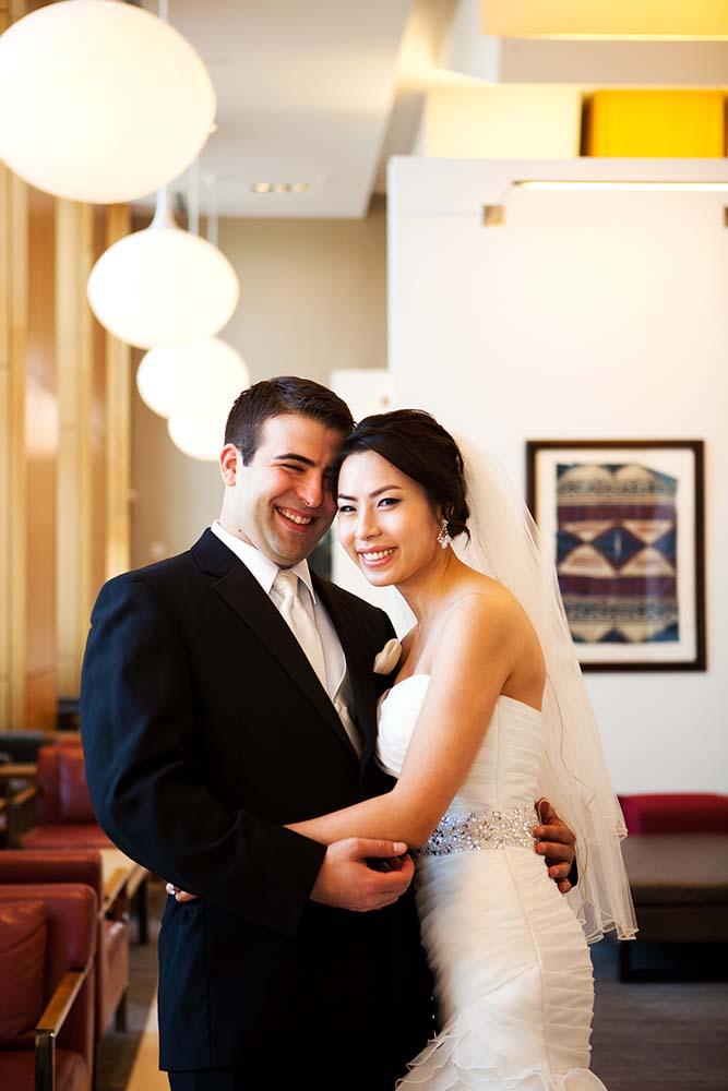 Wedding Loews Hotel, wedding portraits hotel lobby bride and groom