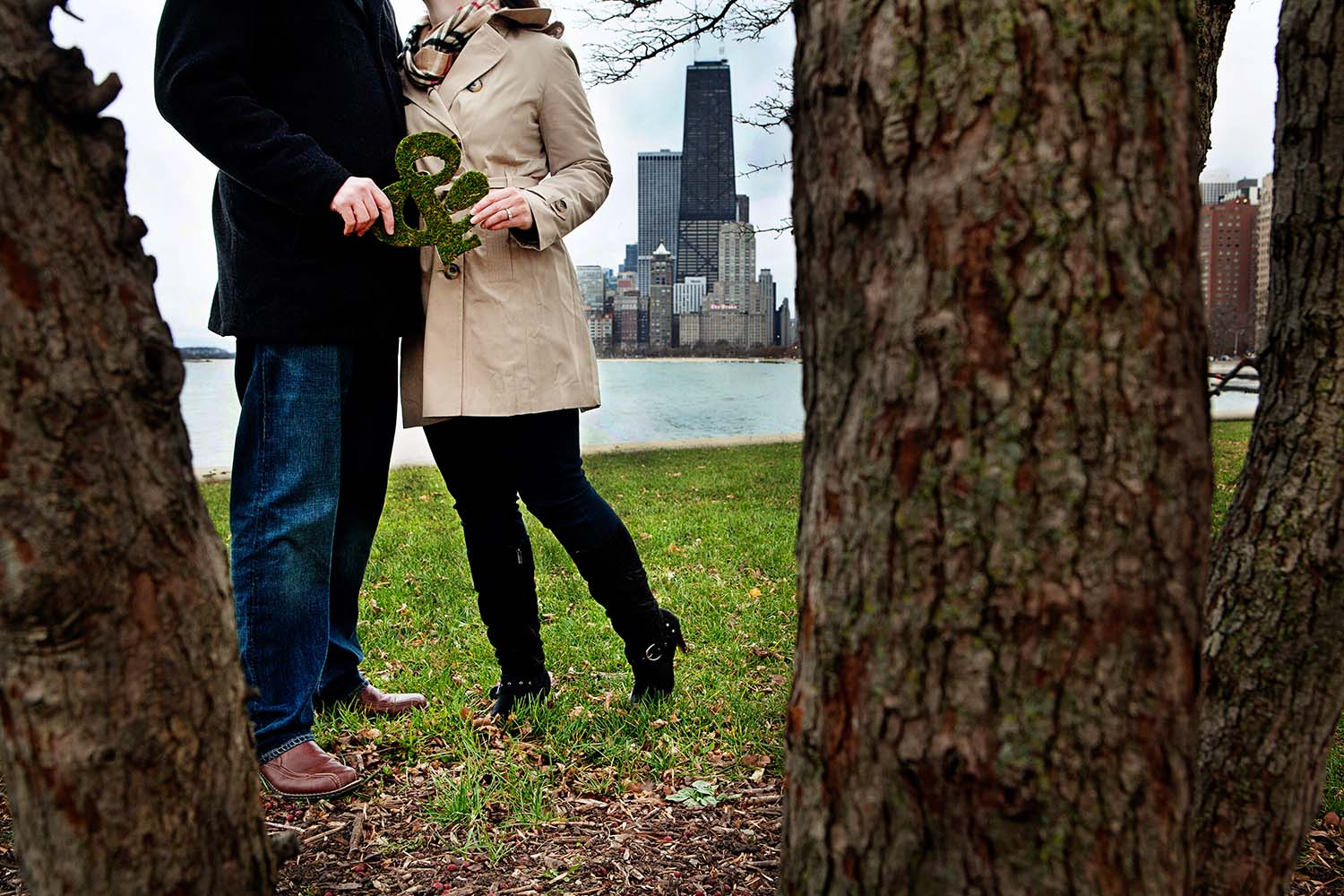 & Symbol Moss Covered Letter Engagement Photography Chicago North Ave Beach Christa & Will