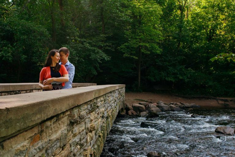 Minnehaha Falls Engagement Photography Stone Bridge River