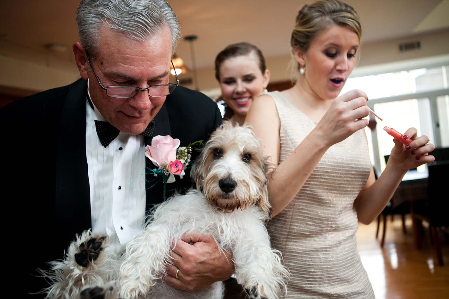 Bridesmaids getting ready day of wedding documentary photography, father of the bride, pet dog, Chicago suburb Park Ridge