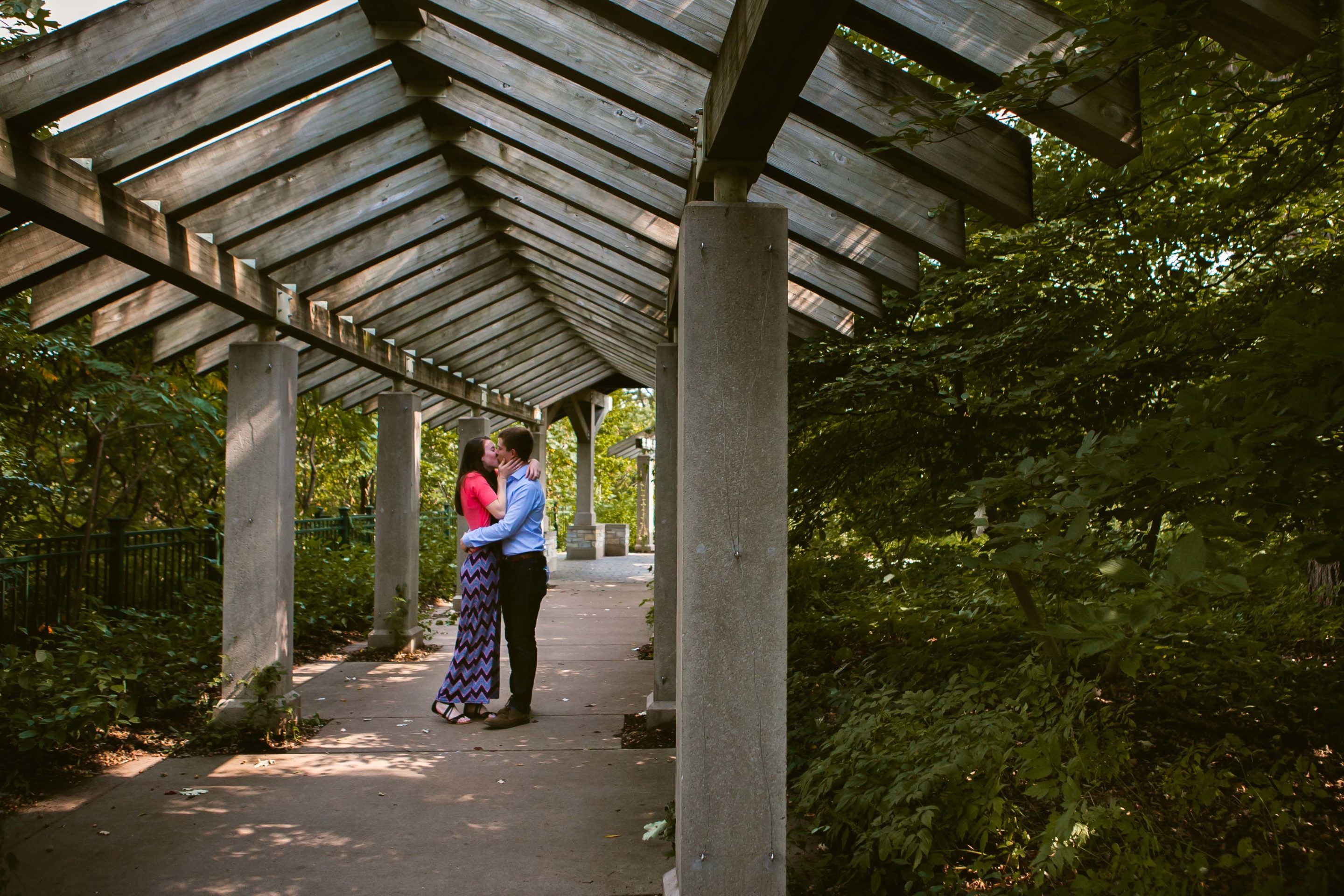 Wooden Archway Minnehaha Falls Minneapolis Engagement Photographers