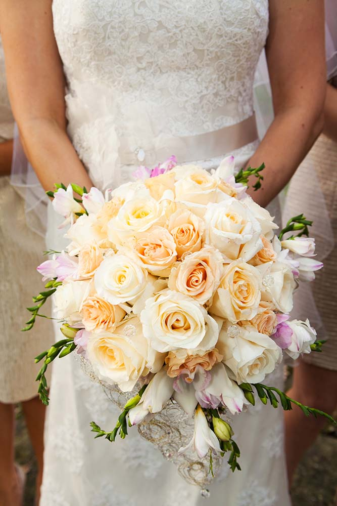 White rose wedding bouquet, cream color roses, lace wedding dress, champagne wedding belt sash, Kristina & John Married