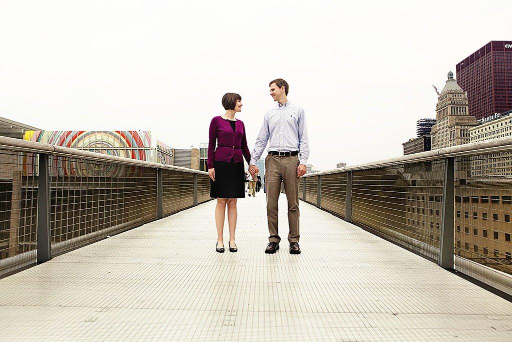 Art Institute Chicago Bridge Engagement Photo