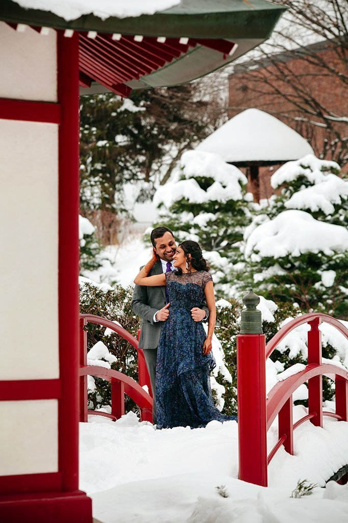 Asian Indian Minneapolis Engagement Photographers Winter Japanese Garden, Snow, Winter, Asia, Twin Cities Engagement Photography, Saint Paul, Minneapolis Wedding Photographers