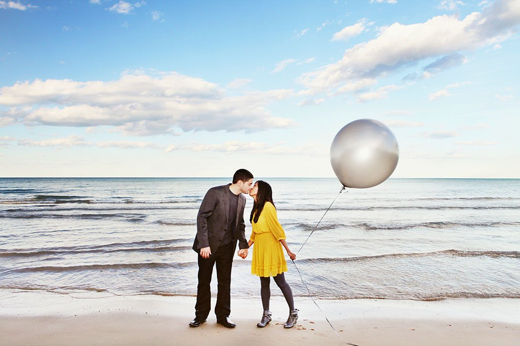 Balloon Beach Engagement Photography