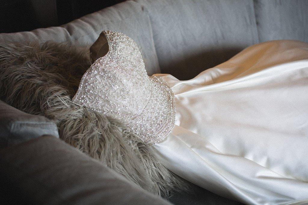 Beaded corset satin wedding dress