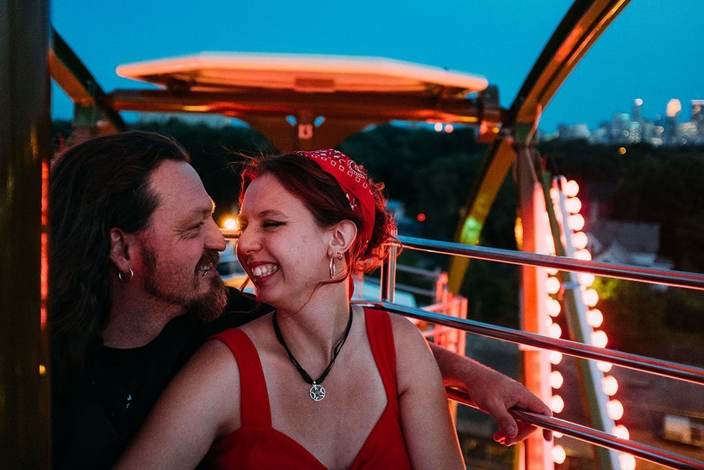 Betty Dangers Ferris Wheel Minneapolis Engagement Photographers Payton & Tim