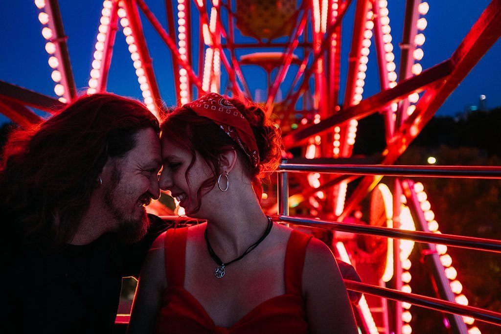 Betty Dangers Ferris Wheel Night Minneapolis Engagement Photographers