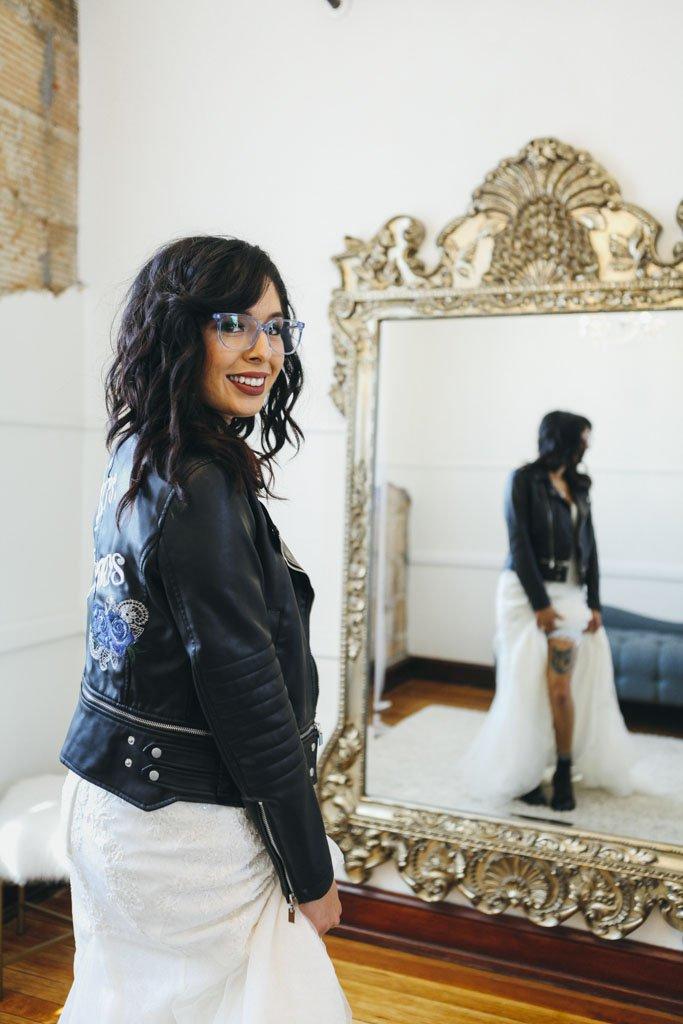 Biker Jacket Bride Wedding Dress, moto jacket, leather jacket, rock n roll bride