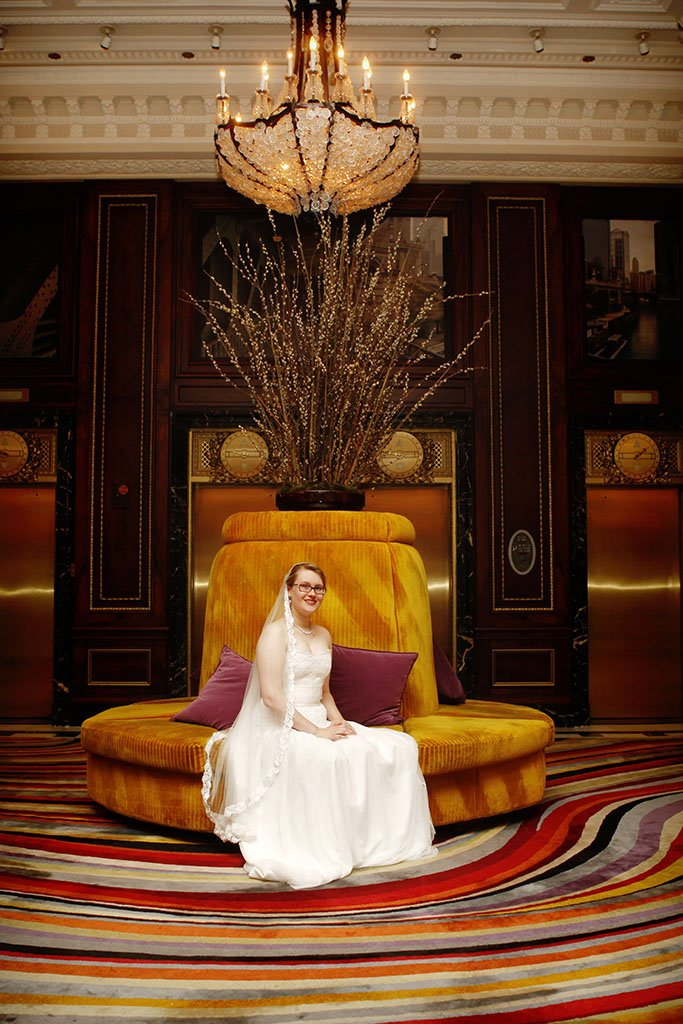 Blackstone Hotel Chicago Lobby Bride Portrait