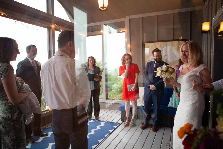 Bride Entering Ceremony Porch Duluth Wedding Photographers Kim & David's Wedding