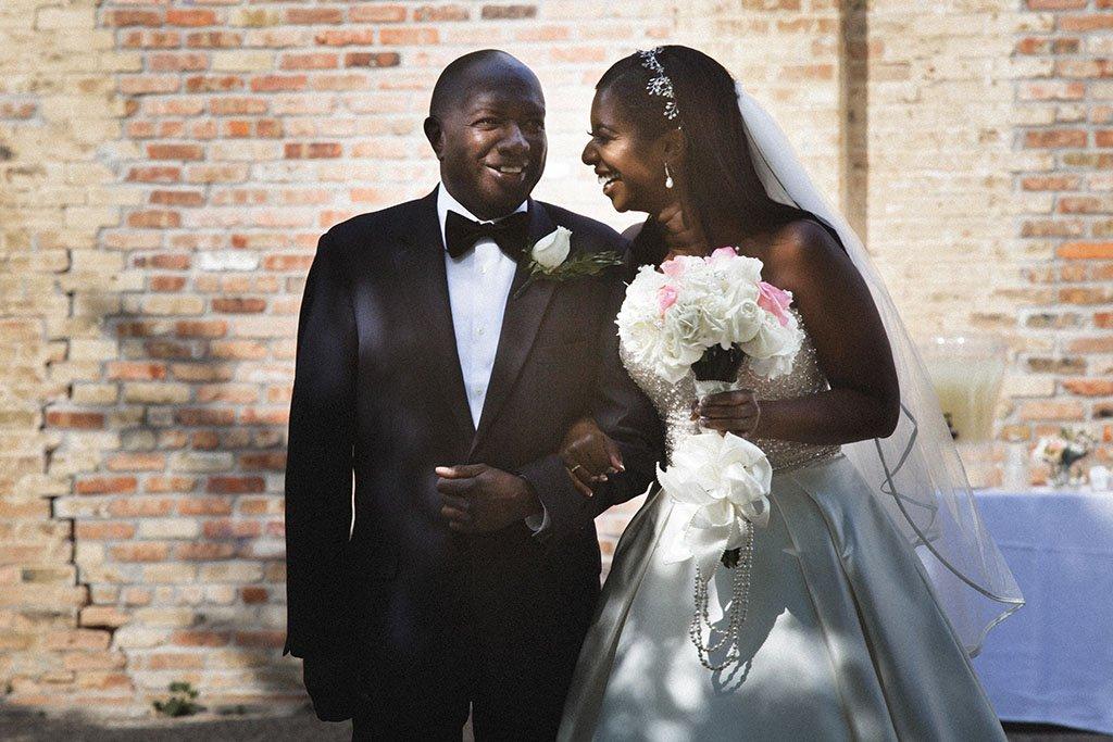 Bride Father Wedding Ceremony, walking down aisle, Nicollet Island Pavilion Wedding
