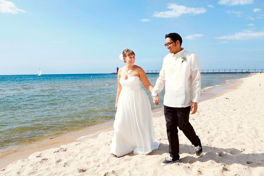 Bride Groom Beach Portrait Minneapolis Wedding Photographer, Kate and Desi Married