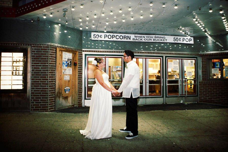 Bride Groom Portrait South Haven Movie Theater