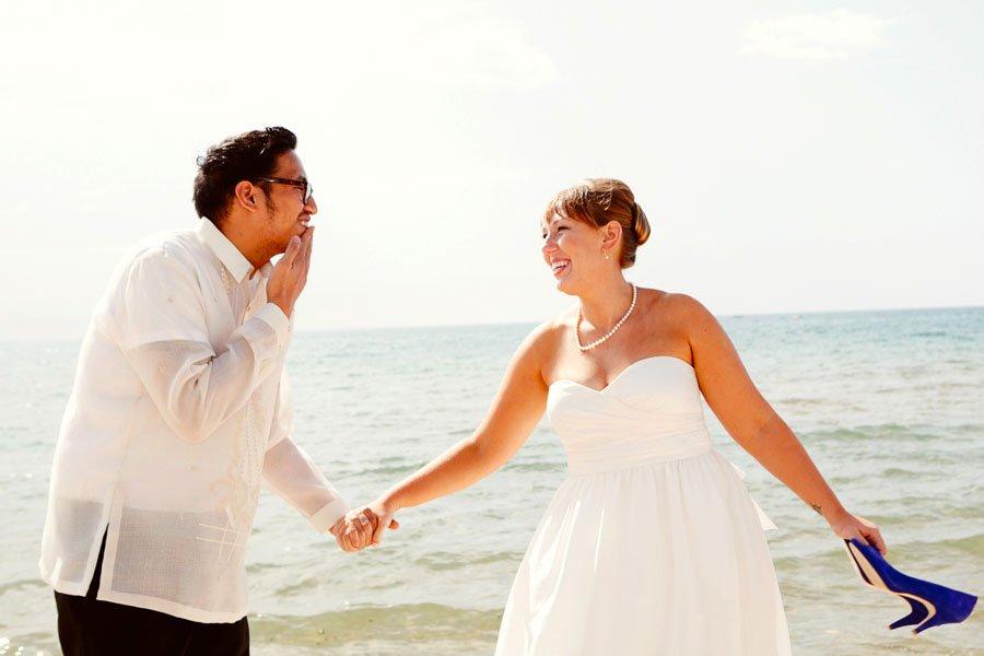 Bride Groom Summer Beach Portrait, Kate and Desi Married