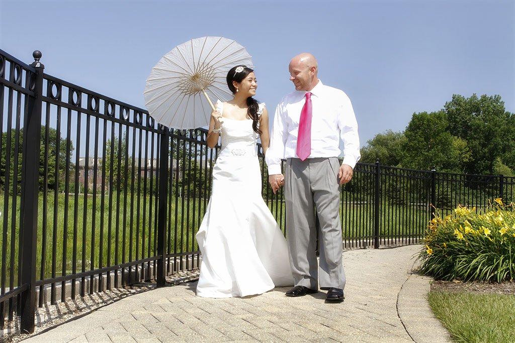 Bride Groom White Paper Parasol Portrait, Minneapolis Wedding Photographer