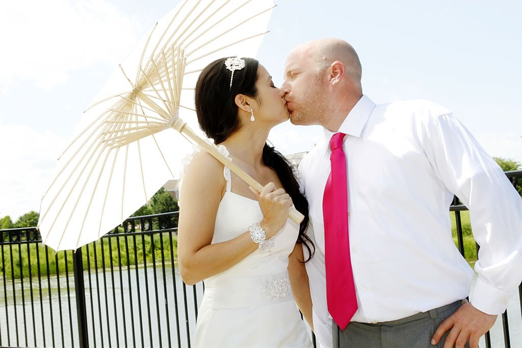 Bride Groom White Paper Parasol Umbrella, summer wedding, Minneapolis Wedding Photographer