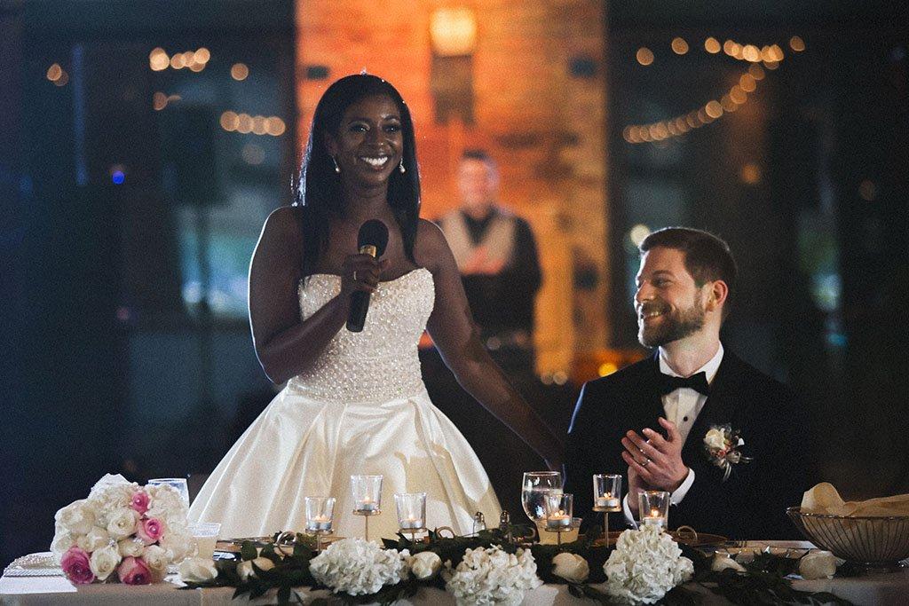 Bride Speech Minneapolis Wedding Photographers, Nicollet Island Pavilion Wedding