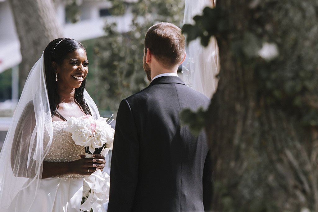 Bride Wedding Ceremony Outdoors, upscale, posh, modern wedding, Nicollet Island Pavilion Wedding
