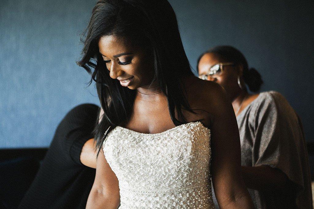 Bride beaded wedding dress documentary photo
